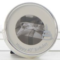 HAPPY 40thBIRTHDAY MINI CIRCULAR FREE STANDING SILVER COLOUR  PICTURE FRAME....